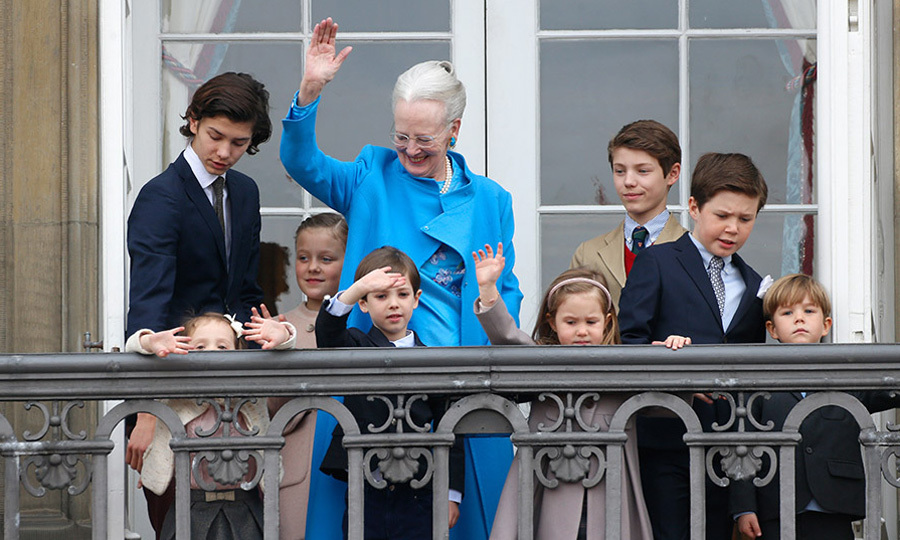 Queen Margrethe had her whole family on hand to help celebrate her 76th birthday. The monarch was surrounded by her eight grandchildren on the balcony of Amalienborg Palace in Copenhagen - Princess Josephine, Princess Isabella, Prince Vincent, Prince Christian, Prince Nikolai, Prince Felix, Princess Athena and Prince Henrik.<br /><br 7>