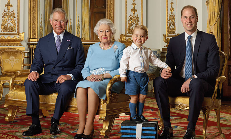 Four generations! The giddy young royal poses with his father, grandfather and great-grandmother to mark Queen Elizabeth's 90th birthday.