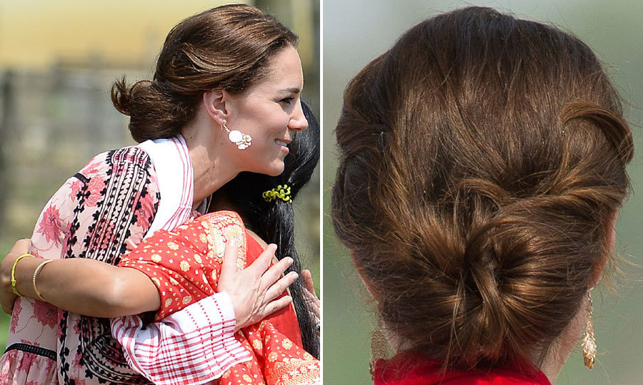 With the hot summer weather in India, Kate's low twisted bun was the perfect way to stay sleek and cool. 