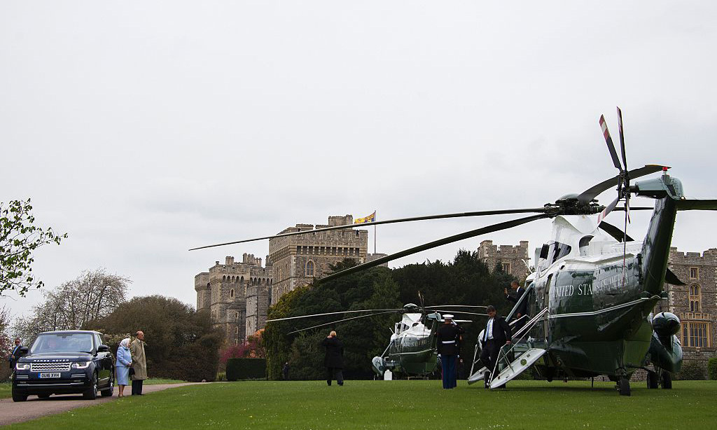 Touch down! Earlier in the day, Marine One landed on the grounds of Windsor Castle on April 22, where Queen Elizabeth and Prince Philip received President Obama and First Lady Michelle.