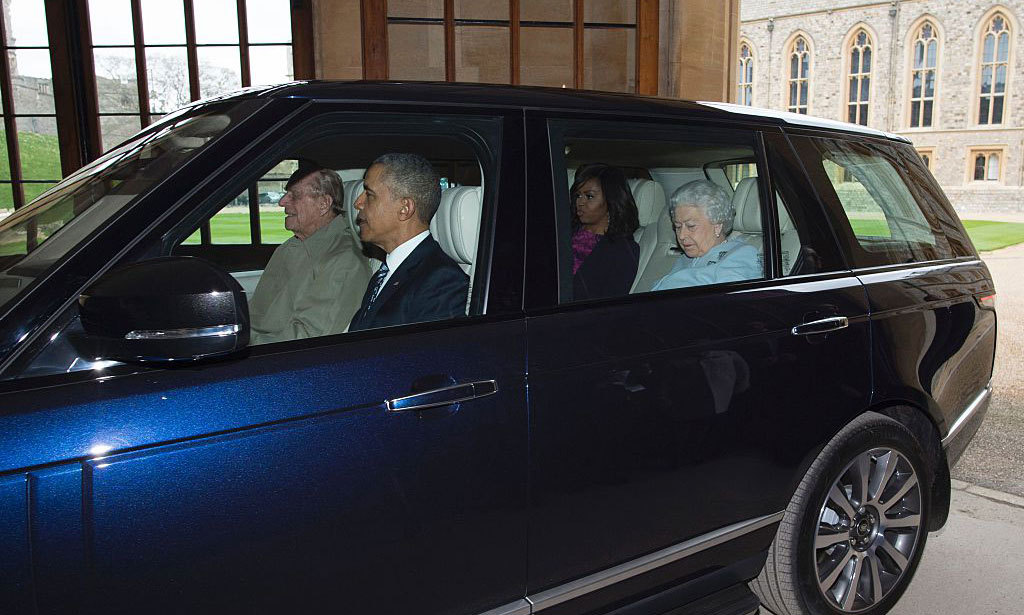 "Prince Philip played the role of chauffeur, driving the powerful bunch to Windsor Castle. ""I can report that it was very smooth riding,"" the president said later.