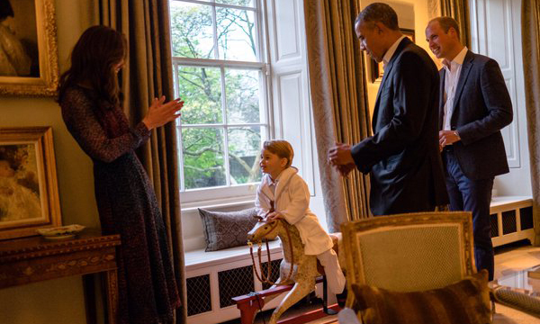 The Duke and Duchess of Cambridge's son thanked his house guests for the rocking horse they sent him for his first birthday.