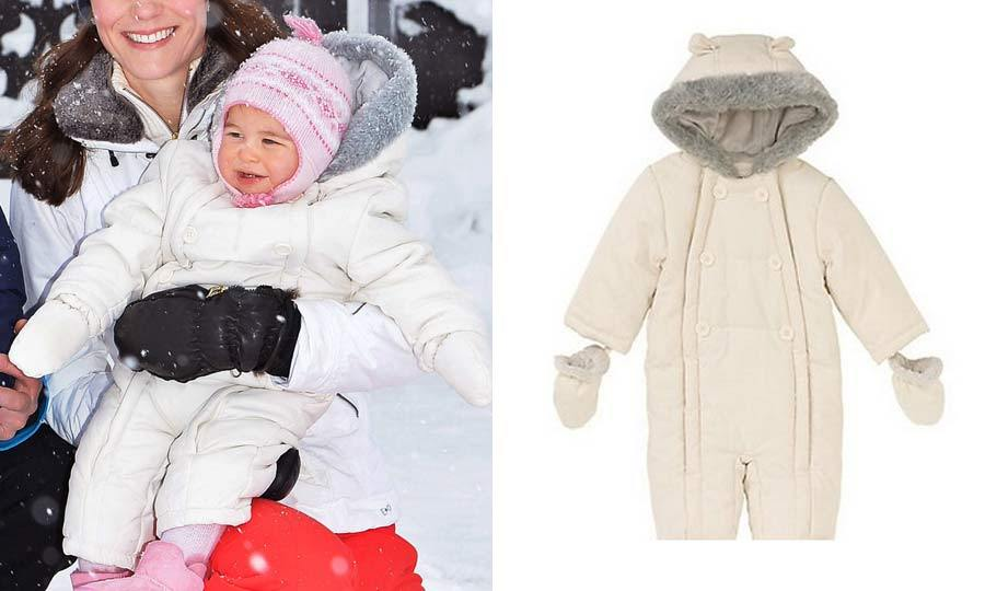 Baby's first snow outfit! Even on the slopes Charlotte looked stylish wearing a $41 off-white John Lewis Baby Wadded Snowsuit. Kate made sure the little one kept her head warm in a sweet pink and white hat.
