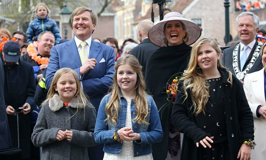 The monarchs and their daughters were all smiles toasting the royal's 49th birthday.