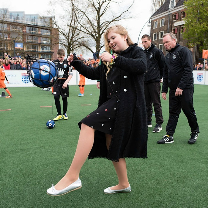 Bend it like Beckham! Crown Princess Catharina-Amalia showed off her soccer skills on the field during her dad's celebration.