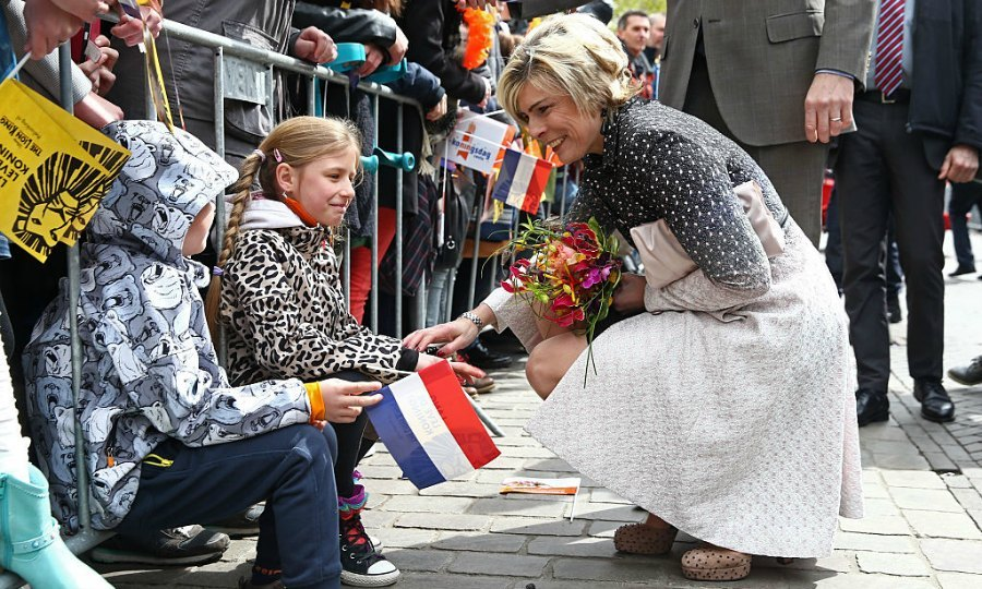 The King's sister-in-law, Princess Laurentien, chatted with young children who were out celebrating Willem-Alexander's birthday.