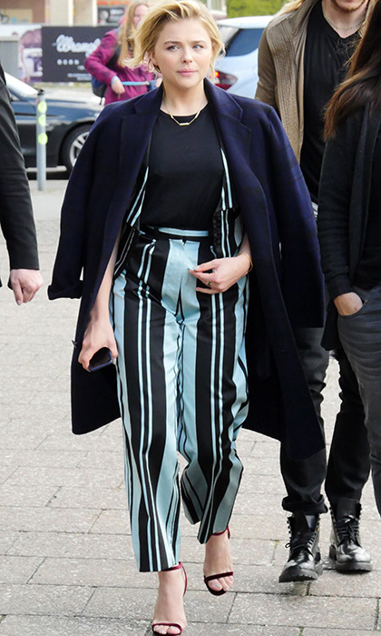 "April 26: Street styling! Chloe Grace Moretz rocked the Jimmy Choo ""Minny"" while out in Berlin. 