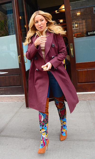 April 28: Kate Hudson showed off her unique street style while pounding the pavement in NYC. 