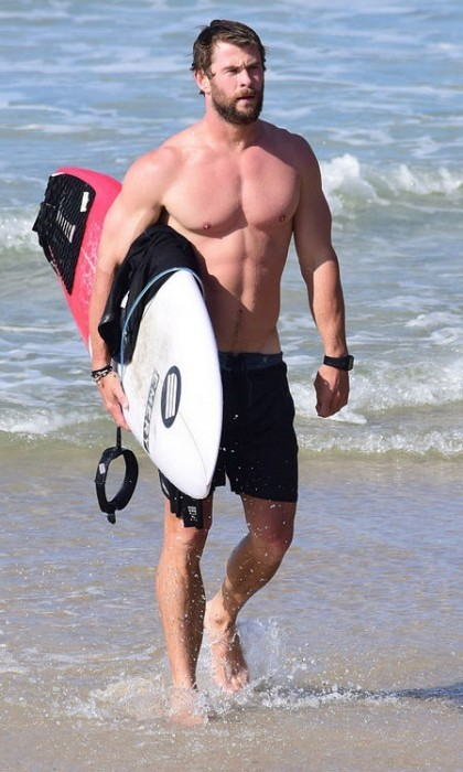 April 28: Hang ten! Chris Hemsworth caught up with some friends as he spent some time surfing in Byron Bay, Australia.