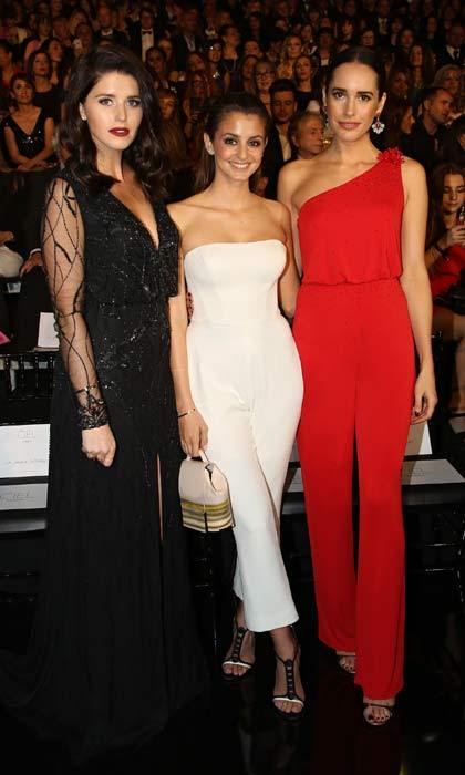 April 29: Katherine Schwarzenegger [left] enchanted us with her dark lipstick and gothic black dress, which she wore to attend the 2017 Atelier Pronovias runway show in Barcelona alongside Gabriela Palatchi and Louise Roe.