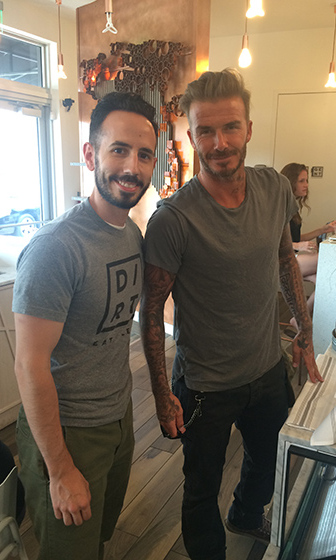 April 25: David Beckham couldn't get enough of DIRT and clean eating. The soccer star posed with the wellness bar and eatery's co-founder Jeff LaTulippe at the Miami Beach location. 