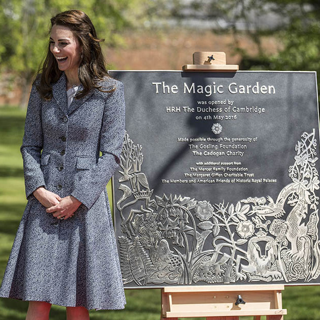 It seemed like the Duchess of Cambridge couldn't stop smiling as she opened the Hampton Court Magic Garden.