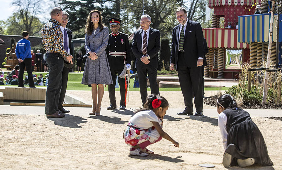 The Duchess took a tour of the installations and had a chance to watch kids at play. 