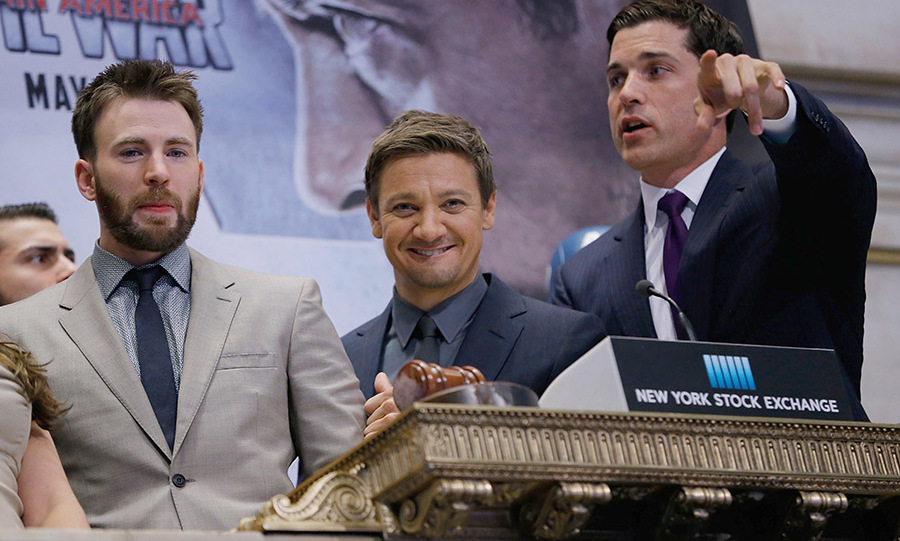 May 3: Captain of the stock exchange! <i>Captain America: Civil War</i> stars Chris Evans and Jeremy Renner rang the closing bell at the New York Stock Exchange.