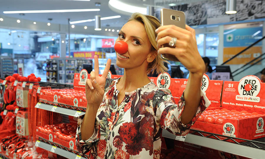 May 3: Silly selfie! Giuliana Rancic posed in a  Walgreens, the exclusive Red Nose and Red Flair retailer, in support of Red Nose Day which helps raise funds for kids suffering from poverty.