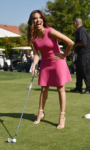 May 2: Hole in one! Eva Longoria had some fun at the 9th annual George Lopez Celebrity Golf Classic to benefit the George Lopez Foundation at Lakeside Golf Club in Burbank. 