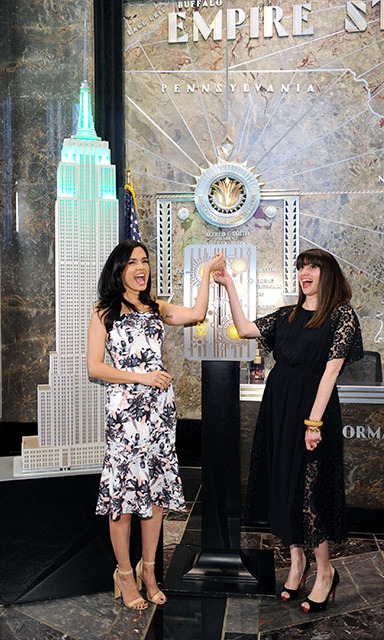 May 2: Light it up! Torrey DeVitto and Women's Health magazine ediotor-in-chief Amy Laird turned the Empire State Building green on behalf of Philosophy's Hope & Grace Initiative in honor of Mental Health Awareness in NYC. 
