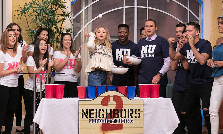May 5: I love college! Chloe Grace Moretz showed off her beer pong skills on the set of Univision's <i>Despierta America</i>  while promoting her new film <i>Neighbors 2: Sorority Rising</i> in Miami. 
