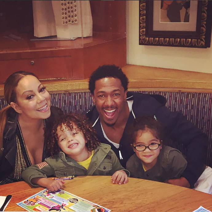 May 5: Nick Cannon and ex-wife Mariah Carey went to a post karate class/ pre Mother's Day dinner with their twins Monroe and Moroccan. 