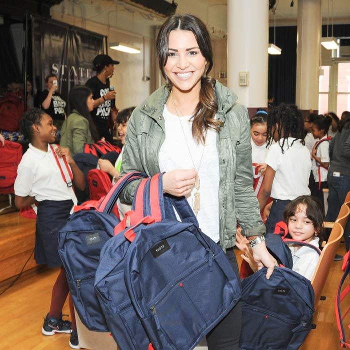May 6: Andi Dorfman, whose new book <i>It's Not Okay</i> swung by the STATE bag, bag drop at the Girls Prep Charter School in NYC.