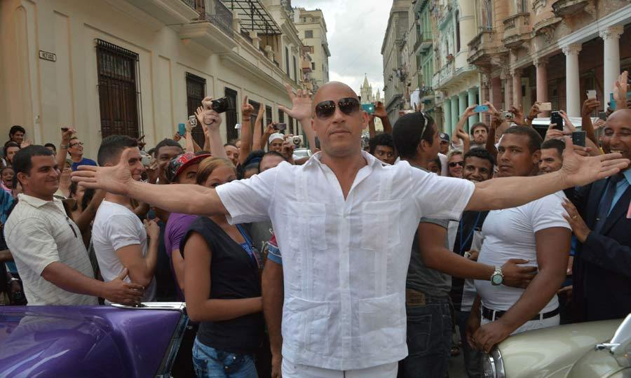 May 4: Who's the man? Vin Diesel posed on a busy street in Havana ahead of the Chanel fashion show.