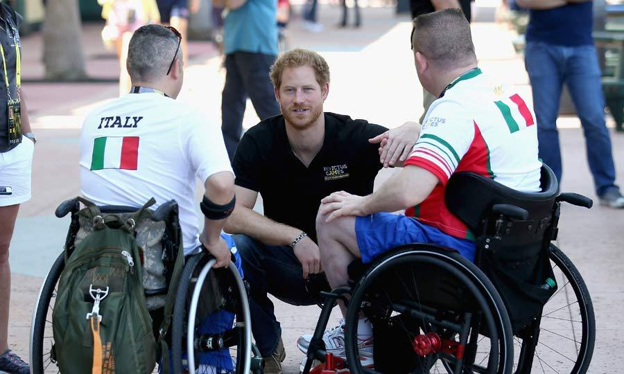 Taking time to get to know some of the Invictus Games competitors, the British royal stopped to speak to Italian athletes.
