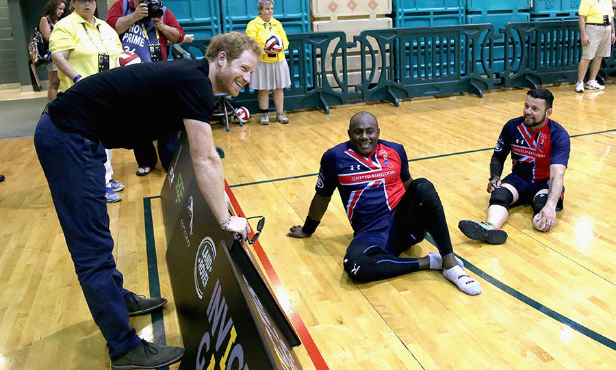 Harry chatted with members of the UK sitting volleyball team. 