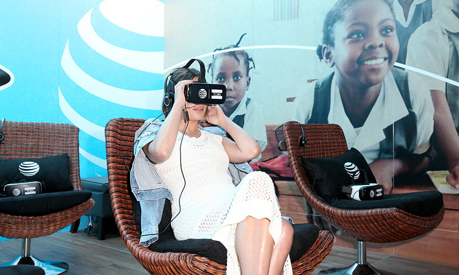 May 6: Virtual girl! Lea Michele had some fun with the virtual reality experience  <i>A Walk in Their Shoes,</i>, at the AT&T and TOMS 10 Year Celebration at Shoebox in Santa Monica. 