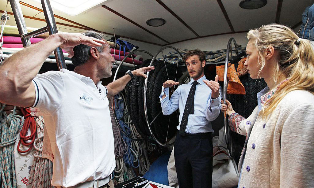 A royal lesson in exploration! Explorer Mike Horn (left) chatted with Pierre Casiraghi (center) and his wife Beatrice Borromeo before setting off on an adventure to circumnavigate the world via the two poles.