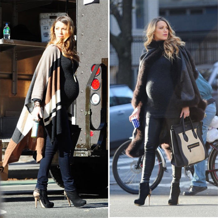 The 28-year-old doesn't just dress up her bump for red carpet events, the star also has great maternity street style. Wrapping up warm, Blake wore two different Alicia Adams Alpaca wraps during outings in New York City.