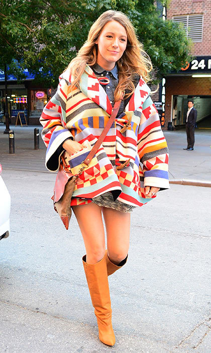 The star isn't afraid to add a pop of color to her maternity wardrobe, which she demonstrated when she stepped out in this multi-colored jacket while out on the streets of New York City in 2014.