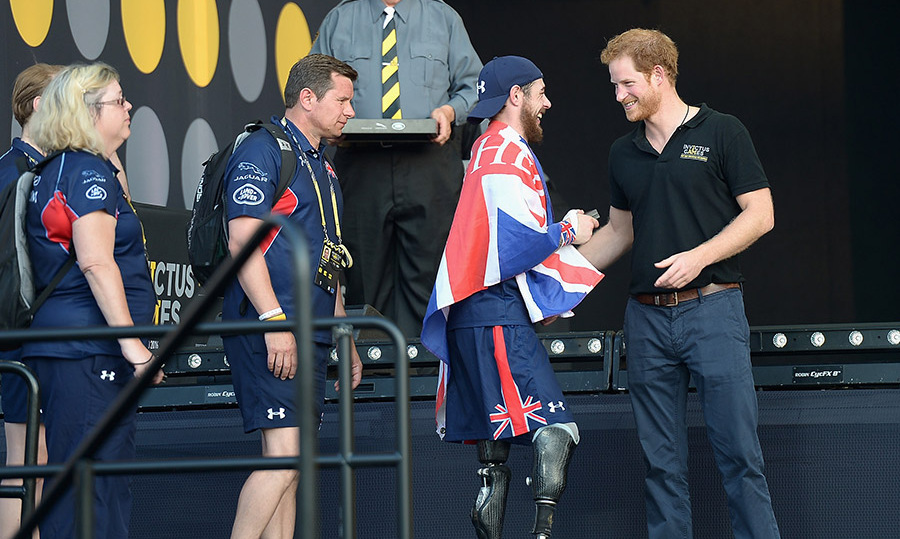 Prince Harry greeted athletes during the closing ceremonies at the 2016 Invictus Games. 