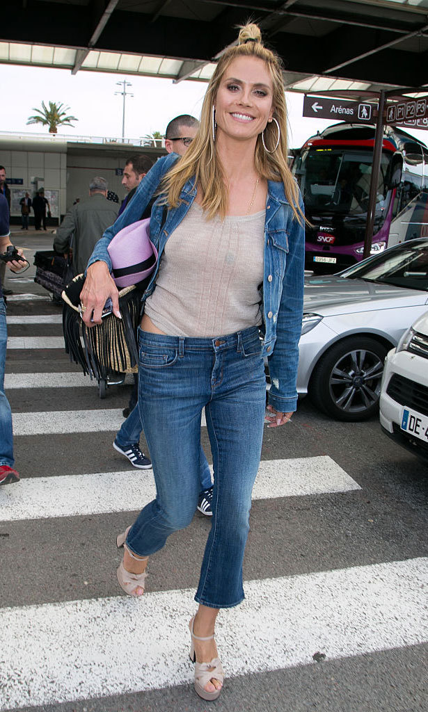 May 13: It was denim for days for supermodel Heidi Klum. The German beauty kept is effortlessly cool arriving in Nice wearing a denim jacket and blue jeans paired with a light shirt and matching heel sandals.
