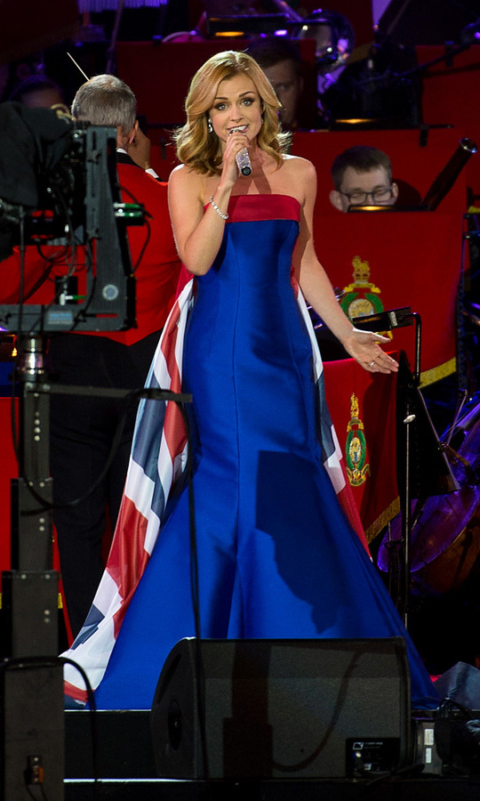 Welsh artist Katherine Jenkins treated the royal family and audience members to a performance of <i>I Vow To Thee My Country</i>, while wearing a Union Jack-Inspired ensemble.