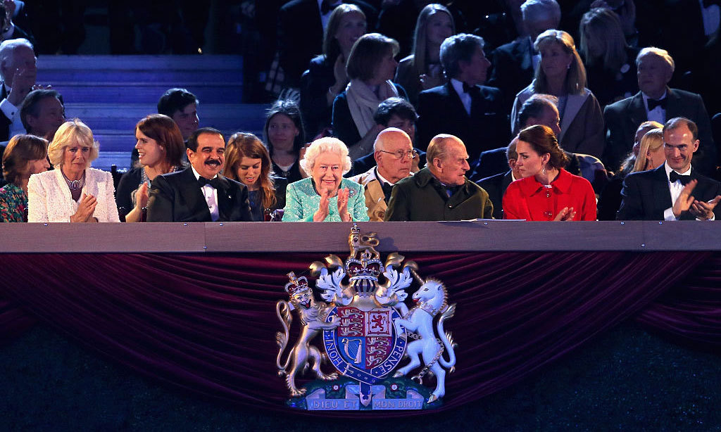 Queen Elizabeth was also joined by her daughter-in-law, the Duchess of Cornwall, her granddaughters Princesses Eugenie and Beatrice, in addition to grandsons (not pictured) Prince Harry and Prince William. Seated next to the birthday girl was guest and friend King of Bahrain (left).