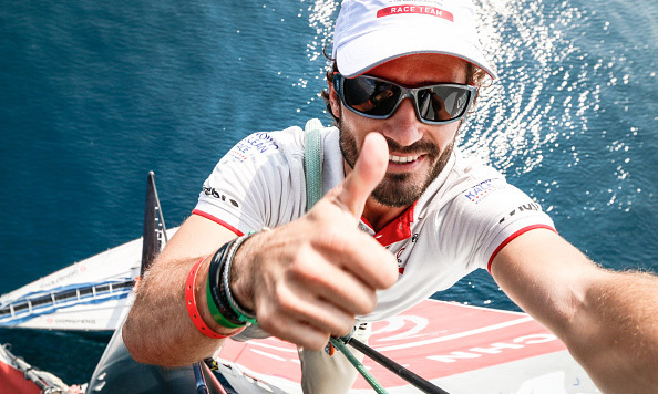 Selfie or it didn't happen, right Prince Carl Philip? the Swedish royal took a photo from the top of the mast of Dongfeng Race Team's boat during the ProAm race in Alicante, Spain.