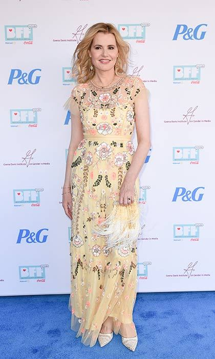 Geena Davis shows off the season's pretty embroidery.