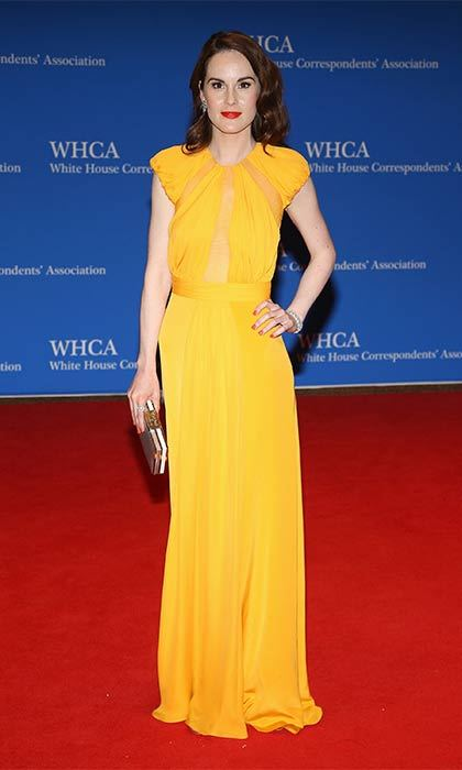 <I>Downton Abbey</I>'s Michelle Dockery wore a simple cap-sleeved style to the White House Correspondents' Dinner. 