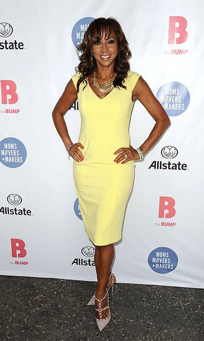 Holly Robinson Peete steps out in a cheery classic shift dress. 