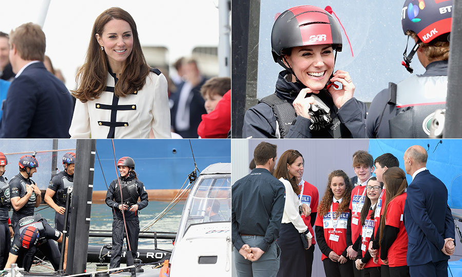 Kate Middleton was in high spirits on Friday morning when she arrived in Portsmouth to undertake a solo royal engagement.