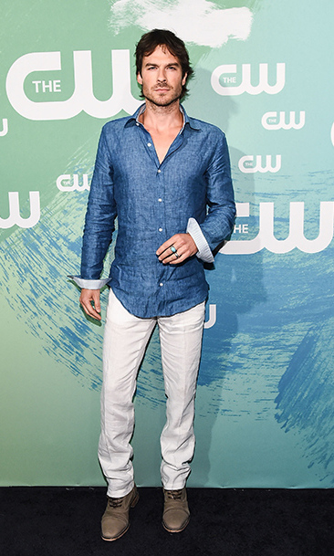 May 19: Beach ready! <i>The Vampire Diaries</i> star Ian Somerhalder looked cool for the summer at the CW Upfront presentation in NYC. 