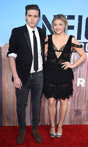 May 16: Cute couple alert! Chloe Grace Moretz and Brooklyn Beckham made their red carpet debut at the <i>Neighbors 2: Sorority Rising</i> premiere in Westwood, California. 