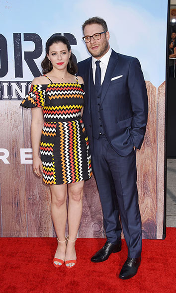 May 16: Seth Rogen and Lauren Miller looked perfect on the <i>Neighbors 2: Sorority Rising</i> red carpet in Westwood, California. 