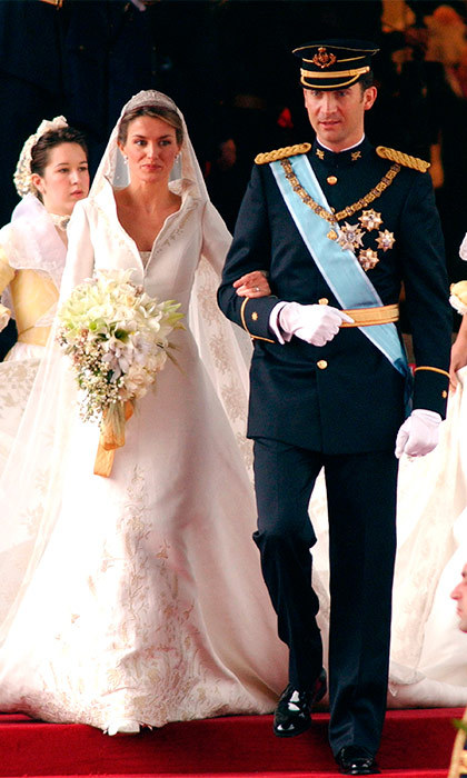 "The wedding of Spain's current King and Queen – then Crown Prince Felipe and <a href=""https://us.hellomagazine.com/tags/1/queen-letizia/""><strong>Letizia Ortiz</strong></a> – came as a surprise to many, as the royal couple, who had met at a dinner party held by a mutual friend, had been secretly dating for a year before their surprise engagement announcement. Letizia, who was well-known already thanks to her job as a news anchor for Spanish national TV, and the future King revealed their wedding plans to the world during a news conference in November 2003 at the Zarzuela Palace. Six months later, on May 22, 2004, the Prince wed his blushing bride in a beautiful wedding ceremony held in Madrid's Almudena Cathedral, making Letizia a Princess – and then, a decade later, when Felipe ascended the throne, a Queen. 
