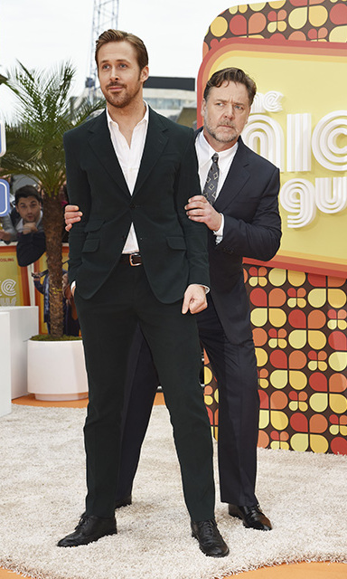 May 19: Funny business! Russell Crowe and Ryan Gosling had some fun during the UK premiere of their new film <i>The Nice Guys</i> in London. 