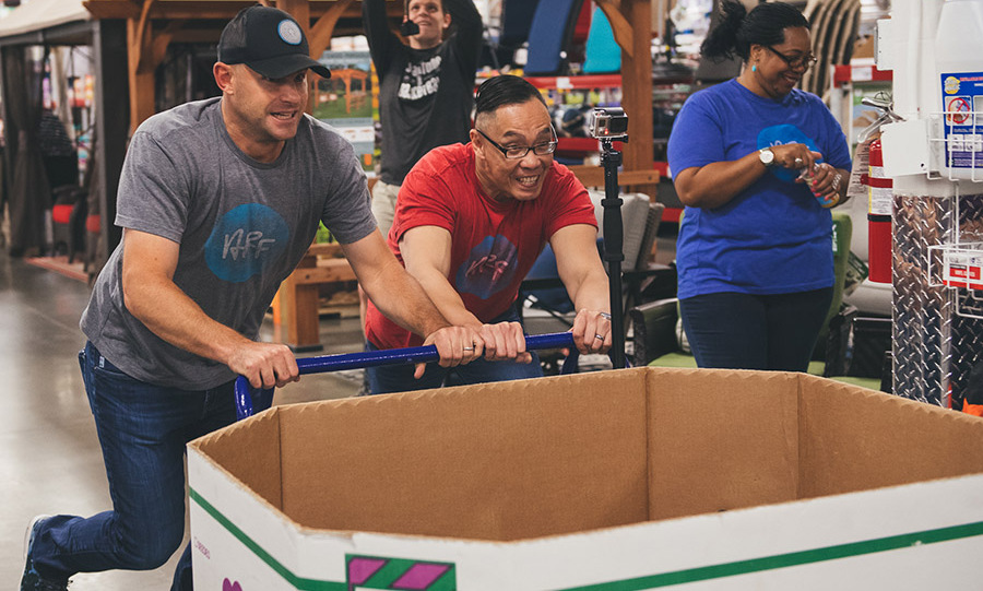 May 18: Push it! Andy Roddick took the RetailMeNot Sam's Club Shopping for a Cause Challenge for the Andy Roddick Foundation in Austin, Texas.