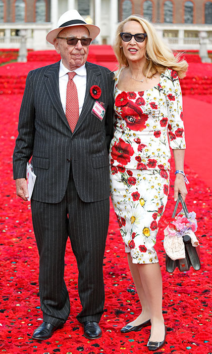Dressed for the occasion! Rupert Murdoch and Jerry Hall were dressed to the floral nines during their visit to the Chelsea Flower Show.