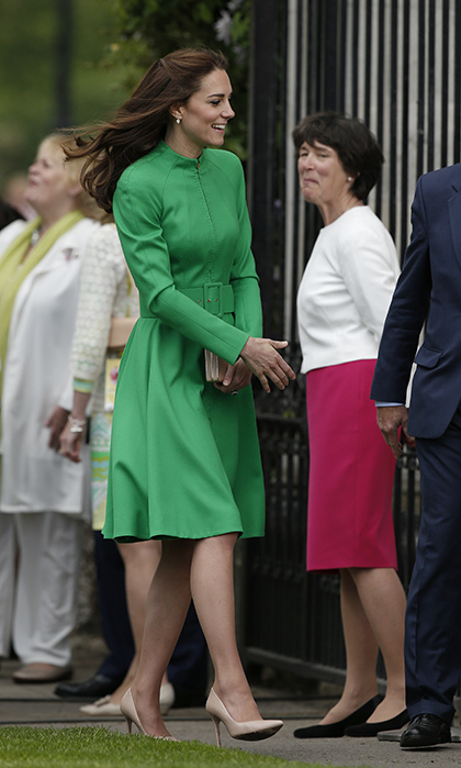 Grand entrance! For her debut at the Chelsea Flower Show, Kate Middleton wore a green Catherine Walker dress. 