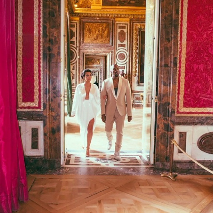 Kim and Kanye were ready to party in his and her Margiela outfits. 