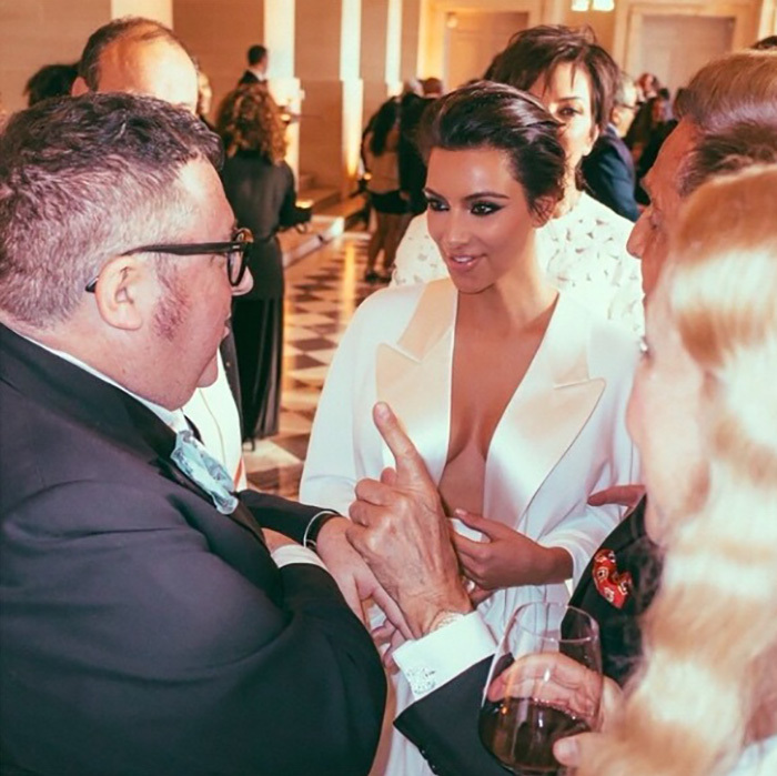 During the party, Kim mingled with the likes of Alber Elbaz, Valentino and more. 